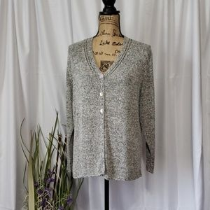 Sigrid Olsen Collection Silk Button Down Cardigan